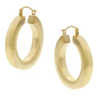 Forever Last 14k Yellow Gold Round-cut Crystal Hoop Earrings