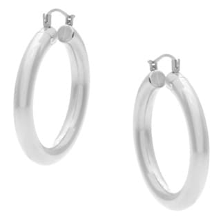 Forever Last 14k White Gold Round-cut Crystal Hoop Earrings
