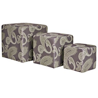 angelo:HOME Carlyle Feathered Paisley Amethyst Purple 3 piece Nesting Ottoman Cubes