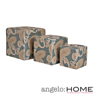 angelo:HOME Carlyle Feathered Paisley French Blue 3 piece Nesting Ottoman Cubes