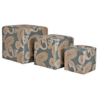 Portfolio Lister Paisley French Blue 3-piece Nesting Ottoman Cubes