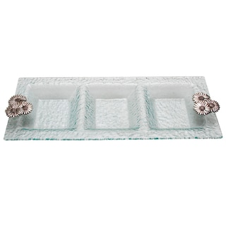 Glass 3-Section Daisy Accent Small Serving Tray