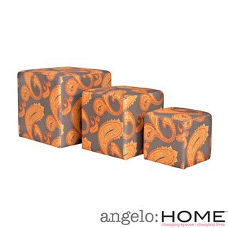 angelo:HOME Carlyle Desert Sunset Brown Paisley 3 piece Nesting Ottoman Cubes
