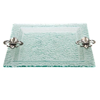 Glass Fleur de Lis Handles Serving Tray