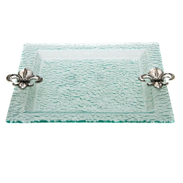 Glass fleur de lis handles serving tray - Fleur de lis serving tray ...