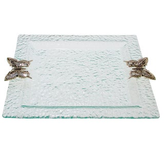 Hammered Glass Butterfly Accent Square Serving Tray