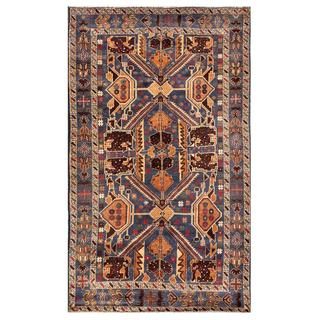 Afghan Hand-knotted Tribal Balouchi Blue/ Light Brown Wool Rug (3'9 x 6'4)