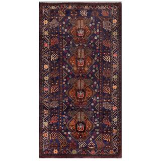 Afghan Hand-knotted Tribal Balouchi Blue/ Brown Wool Rug (3'7 x 6'8)