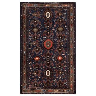 Afghan Hand-knotted Tribal Balouchi Dark Blue/ Brown Wool Rug (3'8 x 6'1)
