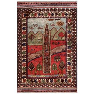 Afghan Hand-knotted Tribal Balouchi Red/ Beige Wool Rug (3'6 x 5'6)