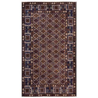Afghan Hand-knotted Tribal Balouchi Navy/ Brown Wool Rug (3'11 x 6'8)