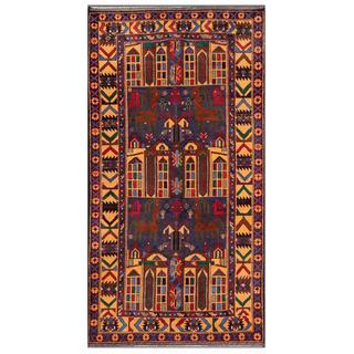 Afghan Hand-knotted Tribal Balouchi Dark Blue/ Light Brown Wool Rug (3'7 x 6'7)