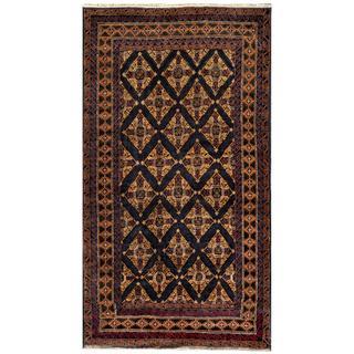 Afghan Hand-knotted Tribal Balouchi Navy/ Light Brown Wool Rug (3'7 x 6'7)