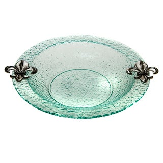 Glass Round Fleur de Lis 14-inch Bowl