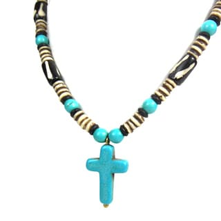 Turquoise Cross of Faith Mix Stone Unique Necklace (Thailand)