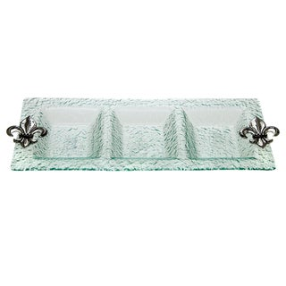 Glass Fleur de Lis 3-Section Tray
