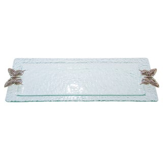 Glass and Butterfly Rectangular Tray