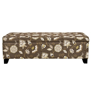 angelo:HOME Kent Vintage Cocoa Brown Floral Storage Ottoman