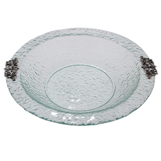 Scroll Handle Glass Round 14-Inch Bowl