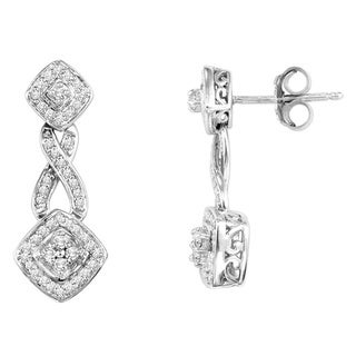 Cambridge Sterling Silver 1/3ct TDW Diamond Pave Dangle Earrings (I-J, I2-I3)