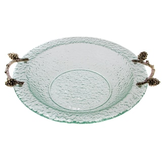 Glass and Pine Cone Branch Round 14-inch Bowl