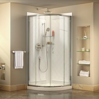 DreamLine Prime 34.375 x 34.375-inch Frameless Sliding Shower Enclosure, Base and QWALL-4 Shower Backwall Kit