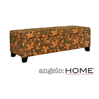 angelo:HOME Kent Modern Bird Branch Autumn Brown Storage Ottoman