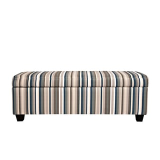 Portfolio Blane Deep Blue Stripe Storage Bench Ottoman
