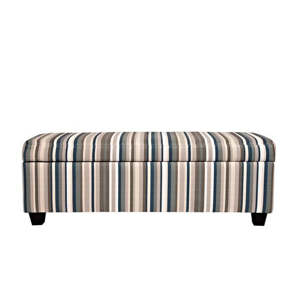 Better Living Blane Deep Blue Stripe Storage Bench Ottoman