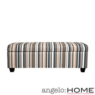 angelo:HOME Kent Vintage Deep Blue Stripe Storage Bench Ottoman