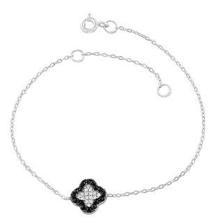 Fremada Rhodium Plated Sterling Silver Black/Clear Cubic Zirconia Clover Bracelet (7.5 inch)