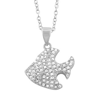Fremada Rhodium Plated Sterling Silver Cubic Zirconia Fish Necklace