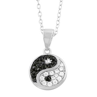 Fremada Rhodium Plated Sterling Silver Cubic Zirconia Yin Yang Necklace