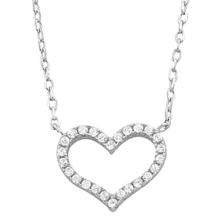 Fremada Rhodium Plated Sterling Silver Cubic Zirconia Heart Necklace
