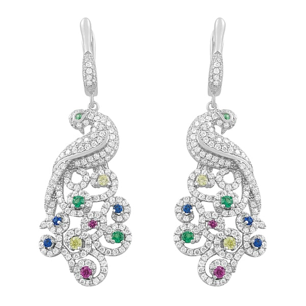 Fremada Rhodium Plated Sterling Silver Cubic Zirconia Peacock Hinged Drop Earrings