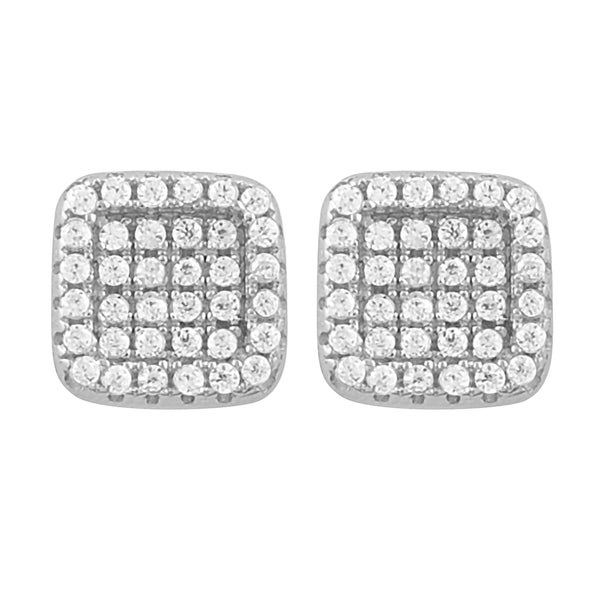 Fremada Rhodium Plated Sterling Silver Cubic Zirconia Square Stud Earrings