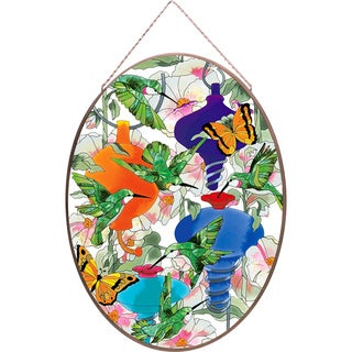 Joan Baker Hummingbird Feeders Glass Art Panel