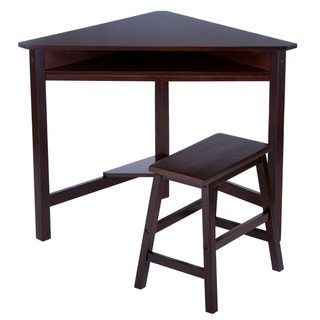 Dark Espresso Corner Desk and Bench Set