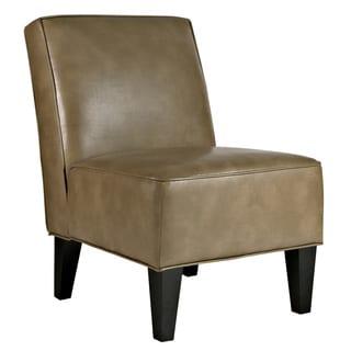 Portfolio Madigan Olive Brown Renu Leather Armless Chair
