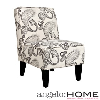 angelo:HOME Dover Modern Charcoal and Cream Paisley Armless Chair