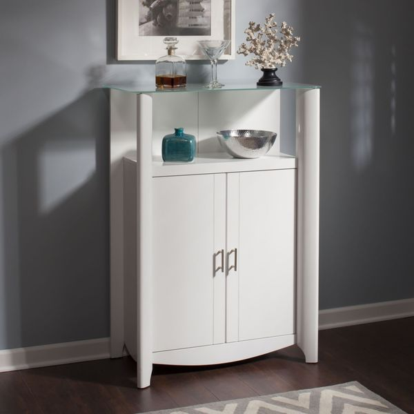 Bush Furniture Aero Glass Top 2 Door Curio Bookcase