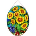 Joan Baker Sunflower Field Glass Art Panel