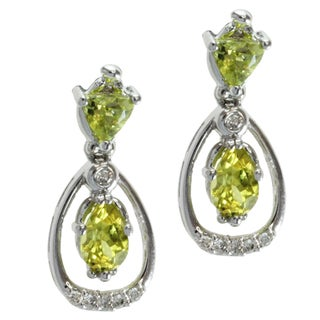 Michael Valitutti 14k White Gold Canary Tourmaline and Diamond Earrings