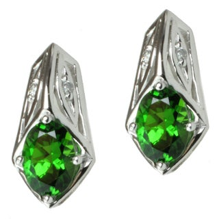 MV 14k White Gold Russian Diopside and Diamond Earrings