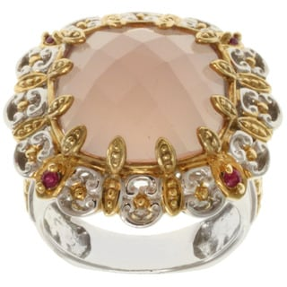 Michael Valitutti Two-tone Pink Agate and Ruby Ring