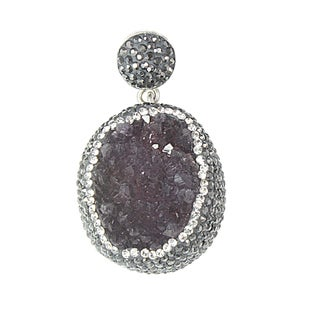 Handcrafted Sterling Silver Amethyst Drusy and Crystal Pendant (Turkey)