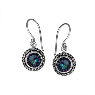 Sterling Silver Bali Faceted Round Mystic Topaz Dangle Earrings (Indonesia)