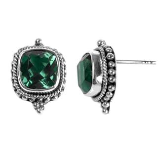 Sterling Silver Bali Faceted Square Green Quartz Post Earrings (Indonesia)