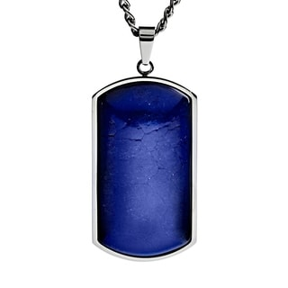 Stainless Steel Gemstone Dog Tag Necklace