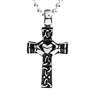 Stainless Steel Claddagh Cross Necklace